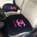 3pcs Top Cotton Chanel Car Seat Covers Universal Pads Sets Auto Seat Cushions - Black Rose
