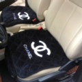 3pcs Top Cotton Chanel Car Seat Covers Universal Pads Sets Auto Seat Cushions - Black