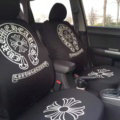 Luxury Chrome Hearts Universal Auto Seat Covers For Cars Cotton Full Set 10pcs - Black