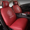 Luxury Leather Chrome Hearts Car Seat Covers Universal Automobile Seat Cushion 6pcs Sets - Red