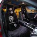 Winter Velvet Chrome Hearts Car Seat Covers Universal Plush Auto Seat Cushion 10pcs Sets - Black