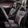 Funky Leather GUCCI Print Car Seat Covers Universal Pads Automobile Seat Cushions 11pcs - Black Grey