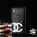 Unique Flower Chanel Genuine Leather Back Covers Holster Cases For iPhone XS Max - Black