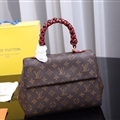 Classic Fresh LV Genuine Leather Shoulder Bags Womens Fashion Ladies Hasp Red Handle - Brown