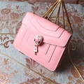 Fashion Bvlgari Shoulder Snake Genuine Leather Chains Bags Womens Crossbody Bags Ladies Hasp - Pink