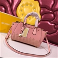 High Quality Classic MK Beading Top-Handle Genuine Leather Bags Womens Lock Fashion Zipper Bags - Pink