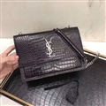 High Quality YSL Crossbody Genuine Leather Womens Chains Fashion Hasp Criss-Cross Bags - Black