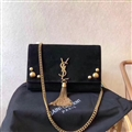 High Quality YSL Shoulder Deerskin Womens Chains Ladies Fashion Hasp TasseL Bags - Black