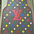 Classic LV Genenal Automotive Carpet Car Floor Mats Rubber 5pcs Sets - Black Colorful