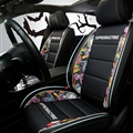 Classic Leather Supreme Print Car Seat Covers Universal Pads Automobile Seat Cushions 6pcs - Black