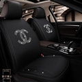 Luxury Crystals Polyester Chanel Car Seat Covers Universal Mats Auto Seat Cushion 6pcs Sets - Black
