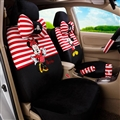 Stripe Mickey Minnie Mouse Plush Fabric Auto Cushion Universal Car Seat Covers 14pcs - Black Red