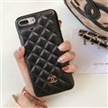Classic Lattices Chanel Leather Hanging Rope Covers Soft Cases For iPhone XS Max - Black