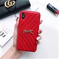 Classic Lattices YSL Leather Back Covers Soft Cases For iPhone XS Max - Red