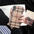 Classic Stripe Shell Burberry Leather Back Covers Metal Cases For iPhone XS Max - Brown