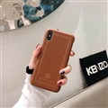 Personalized Versace Leather Pattern Shell Hard Back Covers for iPhone XS Max - Brown