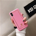 Personalized Versace Leather Pattern Shell Hard Back Covers for iPhone XS Max - Pink