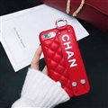 Spire Lamella Stripes Chanel Genuine Leather Back Covers Holster Cases For iPhone XS Max - Red
