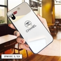 Unique Chanel Glass Mirror Surface Silicone Glass Covers Protective Back Cases For iPhone XS Max - White