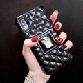 Classic Lattices Chanel Leather Perfume Bottle Covers Soft Cases For iPhone XS - Black