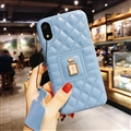 Classic Lattices Chanel Leather Perfume Bottle Covers Soft Cases For iPhone XS - Blue
