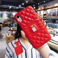 Classic Lattices Chanel Leather Perfume Bottle Covers Soft Cases For iPhone XS - Red