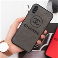 Classic Shell Chanel Genuine Leather Back Covers Holster Cases For iPhone XS - Grey