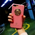 Classic Versace Leather Pattern Shell Hard Back Covers for iPhone XS - Pink