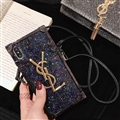 Crossbody YSL Silicone Lanyard Cases Hard Back Covers for iPhone XS - Black