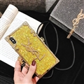 Crossbody YSL Silicone Lanyard Cases Hard Back Covers for iPhone XS - Gold