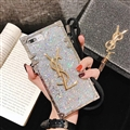 Crossbody YSL Silicone Lanyard Cases Hard Back Covers for iPhone XS - Silver