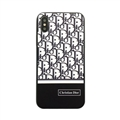 Fashion Dior Leather Pattern Cases Hard Back Covers for iPhone XS - Black