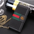 Gucci Lattice Strap Flip Leather Cases Chain Book Genuine Holster Cover For iPhone XS - Black