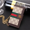 Gucci Lattice Strap Flip Leather Cases Chain Book Genuine Holster Cover For iPhone XS - Brown
