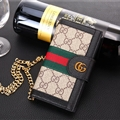 Gucci Lattice Strap Flip Leather Cases Chain Book Genuine Holster Cover For iPhone XS - Gray