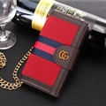 Gucci Lattice Strap Flip Leather Cases Chain Book Genuine Holster Cover For iPhone XS - Red