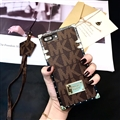 Michael Kors MK Faux Leather Ribbon Lanyards Cases Shell For iPhone XS Silicone Soft Covers - Brown