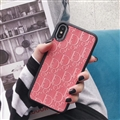 Personalized Dior Leather Pattern Cases Soft Back Covers for iPhone XS - Pink