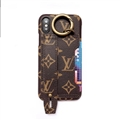 High Quality Shell LV Flower Leather Back Covers Holster Cases For iPhone 11 Pro Max - Brown
