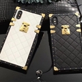 LV Lattice Faux Leather Rivet Lanyards Cases Shell For iPhone 11 Pro Max Silicone Soft Covers - White