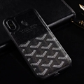 Unique Shell Goyard Genuine Leather Back Covers Holster Cases For iPhone 11 Pro Max - Black