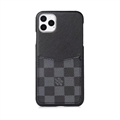 Classic Lattice Skin LV Leather Back Covers Holster Cases For iPhone 11 Pro - Black