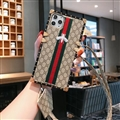Gucci Faux Leather Ribbon Lanyards Cases Shell For iPhone 11 Pro Silicone Soft Covers - Honeybee 02
