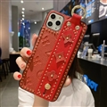 LV Monogram Non-slip Support Leather Cases Cover Back Genuine Holster Shell For iPhone 11 Pro - Red