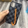 Chain Lattice LV Protective Leather Back Covers Holster Cases For iPhone 11 Pro Max - Black