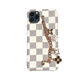 Chain Leaf LV Lattice Protective Leather Back Covers Holster Cases For iPhone 11 Pro Max - White
