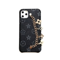 Chain Leaf LV Monogram Protective Leather Back Covers Holster Cases For iPhone 11 Pro Max - Black