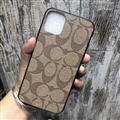 Classic Flower Coach Protective Leather Back Covers Holster Cases For iPhone 11 Pro Max - Brown