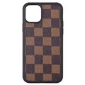 Classic Lattice Casing LV Leather Back Covers Holster Cases For iPhone 11 Pro Max - Brown