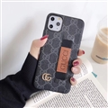 Metal Lattice Skin Gucci Leather Back Covers Holster Cases For iPhone 11 Pro Max - Black